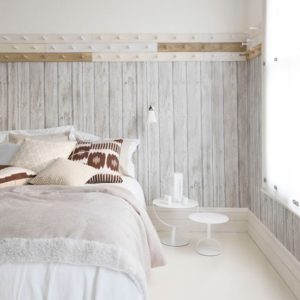 White bedroom with wood look wallpaper Homes Gardens Housetohome