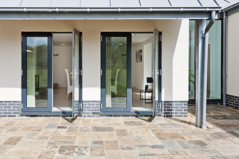 Black aluminium doors backyard
