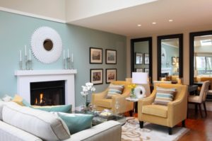 Drawing room blue feature wall